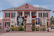 Pink Senate Building in Parliament Square decorated for the Queen's 60th Jubilee in Nassau , Bahamas.