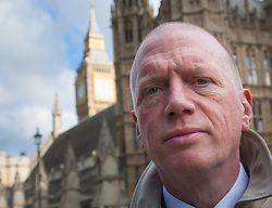 Westminster, London, October 14th 2015. Members of the FBU gather outside Parliament as they prepare to lobby MPs over cuts, the Trade Union Bill and the possibility of their service falling under the control of Police and Crime Commissioners. PICTURED: Fire Brigades Union Secretary General Matt Wrack outside Parliament.
