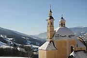 Italy, Friuli-Venezia Giulia, San Leonardo The church, the Alps in the background