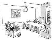 (Boss with empty desk, secretary snowed under with paperwork)