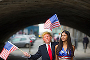 NO FEE PICTURES<br /> 18/1/16 Over 45 US exhibitors will showcase the Land of Liberty in the RDS Simmonscourt as part of the Holiday World Show Dublin, taking place from Friday 27th through to Sunday 29th January. Model Daniela, dressed in the stars and stripes, is pictured with the United States President-elect at the launch of the show in Dublin city centre today. For further information on Holiday World Show 2017 visit www.holidayworldshow.com<br /> Pictured are:<br /> Model Daniela and Donald Trump, United States President-elect lookalike. Picture: Arthur Carron