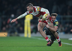 December 27, 2016 - London, England, United Kingdom - Jonny May of Gloucester gets tackled by Harlequins Ruaridh Jackson during Aviva Premiership Rugby match between Harlequins and Gloucester Rugby at The Twickenham Stadium, London on 27 Dec 2016  (Credit Image: © Kieran Galvin/NurPhoto via ZUMA Press)