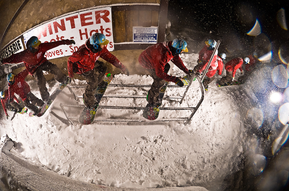 Pat MIlbery night sequence shot for Snowboarder Magazine in Wrightwood, California.
