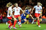 Lia Walti (#13) of Switzerland fouls Erin Cuthbert (#22) of Scotland during the 2019 FIFA Women's World Cup UEFA Qualifier match between Scotland Women and Switzerland at the Simple Digital Arena, St Mirren, Scotland on 30 August 2018.