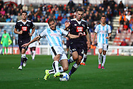 Martin Cranie of Huddersfield town tackles Andreas Weimann of Derby County. Skybet football league Championship match, Huddersfield Town v Derby county at the John Smith's Stadium in Huddersfield , Yorkshire on Saturday 24th October 2015.<br /> pic by Chris Stading, Andrew Orchard sports photography.
