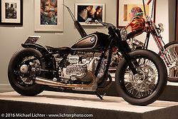 R5 Hommage, a one-off tribute to the original R5 built by BMW Motorrad in Michael Lichter's Skin & Bones tattoo inspired Motorcycles as Art show at the Buffalo Chip Gallery during the annual Sturgis Black Hills Motorcycle Rally.  SD, USA.  August 10, 2016.  Photography ©2016 Michael Lichter.