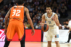 December 19, 2017 - Madrid, Madrid, Spain - Facundo Campazzo (right), #11 of Real Madrid in action during the 2017/2018 Turkish Airlines EuroLeague Regular Season Round 13 game between Real Madrid and Valencia Basket at WiZink center in Madrid. (Credit Image: © Jorge Sanz/Pacific Press via ZUMA Wire)