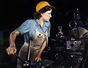 World War II: USA female war worker in the 1940s. During the war women on the home front took over many jobs traditionally done by men.