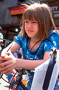 Participant age 10 at Youth Express community bike safety rodeo.  St Paul  Minnesota USA