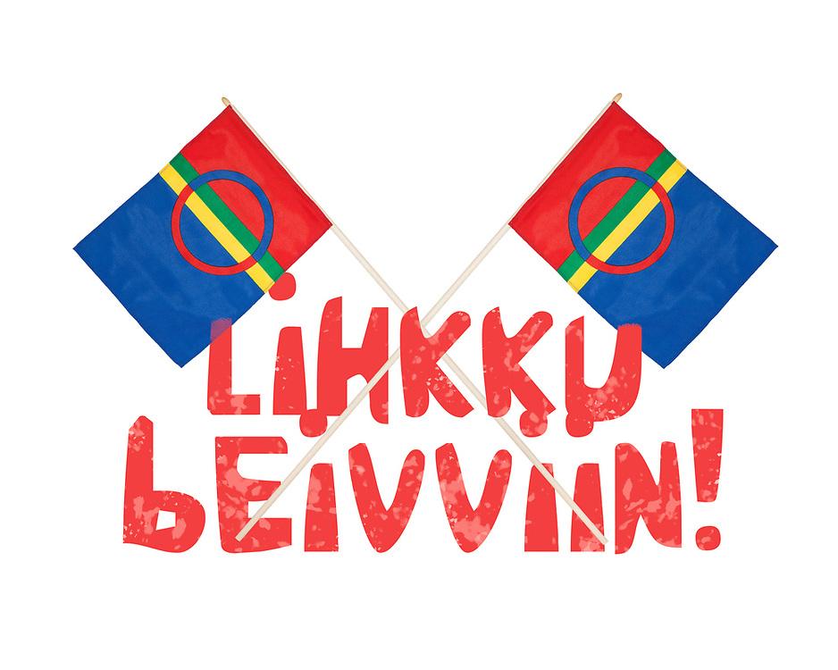 Ornamentalt oppsett av to samiske flagg mot helhvit bakgrunn, med tekst «Lihkku beivviin!».