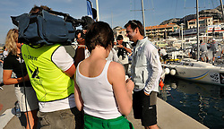Redhanded TV crew filming an interview with Damien Iehl, French Match Racing Team. Photo:Chris Davies/WMRT