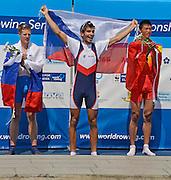Plovdiv BULGARIA. ..Junior Men's Single Sculls.Left  Silver Medalist  SLO JM1X Jernej MARKOVC..Centre Gold Medalist CZE JM1X, Michal PLOCEK .right. Bronze medalist. CHN JM1X Ganggang LI (b)..2012 FISA Junior and Non Olympic . Rowing Championships, Plovdiv Rowing Course.     12:26:39  Sunday  19/08/2012   [Mandatory Credit Peter Spurrier: Intersport Images]...