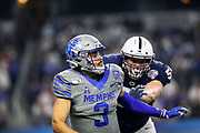 Memphis Tigers quarterback Brady White (3) throws a pass under pressure from Penn State Nittany Lions Robert Windsor (54) during the game of the NCAA Cotton Bowl Classic football game, Saturday, Dec. 28, 2019, in Arlington, Texas. Penn State defeated Memphis 53-39. (Mario Terrana/Image of Sport)