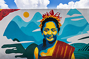 Painting of a Balinese woman, Tegallalang,  Bali, Indonesia