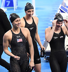 HANGZHOU, Dec. 16, 2018  Members of the Team USA react after Women's 4X50m Freestyle Relay Final at 14th FINA World Swimming Championships (25m) in Hangzhou, east China's Zhejiang Province, on Dec. 16, 2018.Team USA claimed the title with 1:34.03. (Credit Image: © Xinhua via ZUMA Wire)