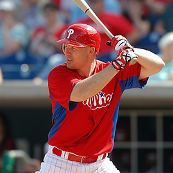 February 24, 2011; Clearwater, FL, USA; Philadelphia Phillies second baseman Pete Orr (60) during a spring training exhibition game against the Florida State Seminoles at Bright House Networks Field. Mandatory Credit: Derick E. Hingle