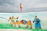 Mongolia, province de Bulgan, fete du Naadam, peinture de lutteurs // Mongolia, Bulgan province, Naadam festival, wrestler painting