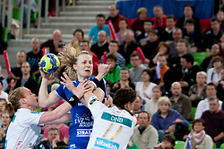 during handball match between RK Krim Mercator (SLO) and Larvik HC (NOR) in second game of semi final of EHF Women's Champions League 2012/13 on April 13, 2013 in Arena Stozice, Ljubljana, Slovenia. (Photo By Urban Urbanc / Sportida)