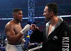 Anthony Joshua post fight with Wladimir Klitschko following the IBF, WBA and IBO Heavyweight World Title bout at Wembley Stadium, London.