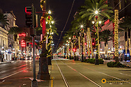 Festive Christmas Lights along Canal Street in New Orleans, Louisiana, USA