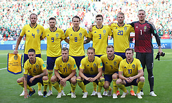 YEKATERINBURG, June 27, 2018  Players of Sweden pose for a group photo prior to the 2018 FIFA World Cup Group F match between Mexico and Sweden in Yekaterinburg, Russia, June 27, 2018. (Credit Image: © Li Ming/Xinhua via ZUMA Wire)