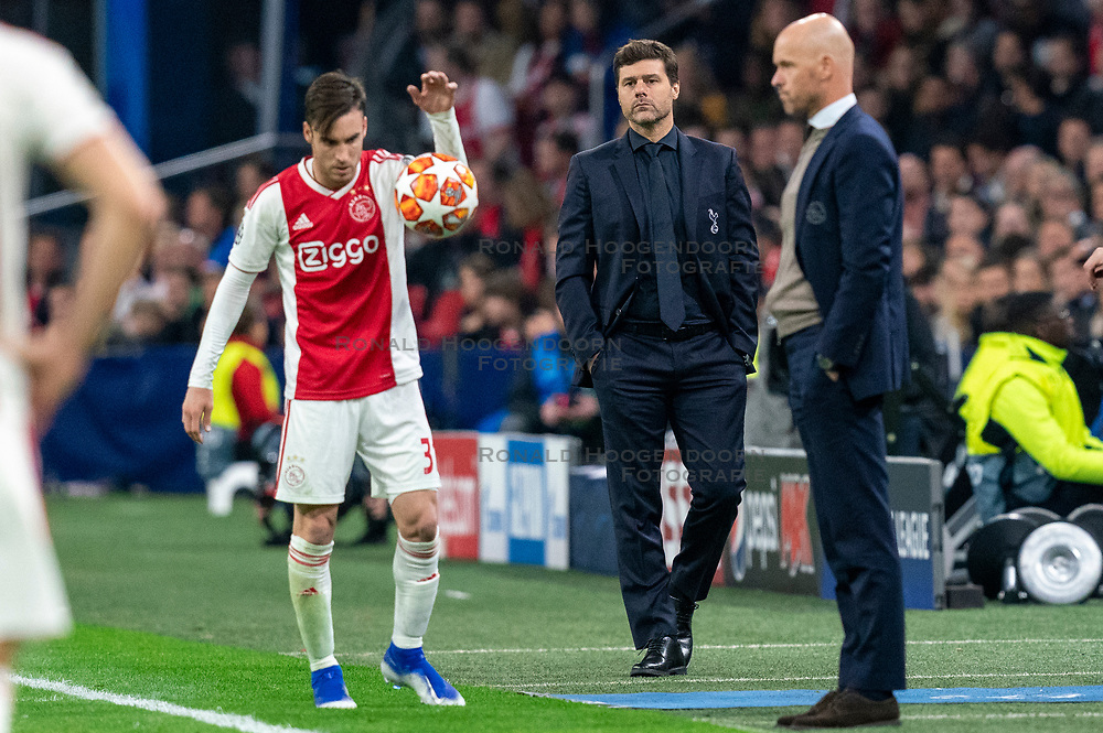 08-05-2019 NED: Semi Final Champions League AFC Ajax - Tottenham Hotspur, Amsterdam<br /> After a dramatic ending, Ajax has not been able to reach the final of the Champions League. In the final second Tottenham Hotspur scored 3-2 / Nicolas Tagliafico #31 of Ajax, Coach Mauricio Pochettino of Tottenham Hotspur