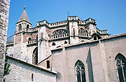St Etienne Cathedral, Cahors, Lot department, south west France 1976