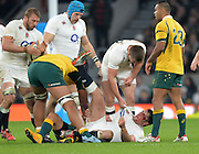 Twickenham, Great Britain,  Englands' Brad BARRITT lay's bloody faced as he clashes with Quade COOPER. during the QBE Autumn International, England vs Australia, played at the RFU Stadium, Twickenham, ENGLAND. 16:18:49  Saturday  29/11/2014.  [Mandatory Credit; Peter Spurrier/Intersport-images]