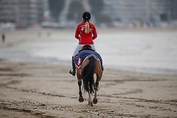 Liebherr Christina, SUI, LB Queen du Chateau<br /> Beach training<br /> Longines Jumping International de La Baule 2017<br /> © Hippo Foto - Dirk Caremans<br /> Liebherr Christina, SUI, LB Queen du Chateau