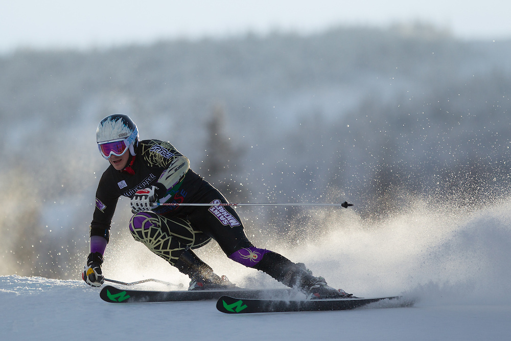 Cameron Furrer of Saint Michael's College, skis during the first run of the men's giant slalom at the Colby College Carnival at Sugarloaf Mountain on January 17, 2014 in Carabassett Valley, ME. (Dustin Satloff/EISA)
