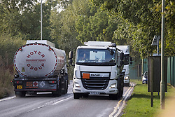 © Licensed to London News Pictures. 04/10/2021. London, UK. A fuel tankers are seen on the roads approaching Buncefield oil depot in Hemel Hempstead, Hertfordshire. Military personnel are expected to start helping with driver shortages today following more than a week of long queues and closures at petrol stations. Photo credit: Ben Cawthra/LNP