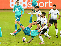 Football - 2020 / 2021 Sky Bet Championship - Swansea City vs AFC Bournemouth - Liberty Stadium<br /> <br /> Steve Cook of Bournemouth on the attack Matt Grimes defends <br />  in a stadium without fans because of the pandemic crisis<br /> <br /> COLORSPORT/WINSTON BYNORTH