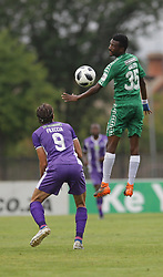 31032018 (Bloem Celtic) Lucky Baloyi tackles with (Maritzburg United) Andrea Feliccia during a match were Maritzburg United walloped Bloemfontein Celtic with early goal in the first half of the game at Harry Gwala Stadium in Petermarizburg yesterday.<br /> Picture: Motshwari Mofokeng/ANA