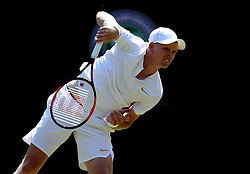 Kyle Edmund during his match against Alex Bolt on day two of the Wimbledon Championships at the All England Lawn Tennis and Croquet Club, Wimbledon.