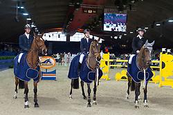 Landbouwleven Darco Cup<br /> Winners team Heartbreaker<br /> Geukens Jan - Firstbreaker, Peeters Leonie - Unica, Kenis Pieter - El Charro<br /> Jumping  Mechelen 2011<br /> © Dirk Caremans