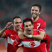 Turkey's Gokhan GONUL (C) celebrate his goal with teammate during their UEFA EURO 2012 Qualifying round Group A soccer match Turkey between Austria at Sukru Saracoglu stadium in Istanbul March 29, 2011. Photo by TURKPIX