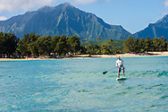 Stand-Up Paddle Boarding in Kailua Bay, Oahu, Hawaii ****Model Release available