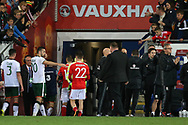 A dejected Ben Woodburn of Wales walks off the pitch and down the tunnel at the end of the match. Wales v Rep of Ireland , FIFA World Cup qualifier , European group D match at the Cardiff city Stadium in Cardiff , South Wales on Monday 9th October 2017. pic by Andrew Orchard, Andrew Orchard sports photography