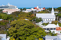 US, Florida, Key West. View from top of the Key West Lighthouse.