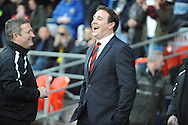 Cardiff manager Malky Mackay in buoyant mood before the match against Southampton in the Barclays Premier league, Cardiff city v Southampton at the Cardiff city Stadium in Cardiff,  South Wales on Boxing day, Thursday 26th Dec 2013. <br /> pic by Jeff Thomas, Andrew Orchard sports photography.
