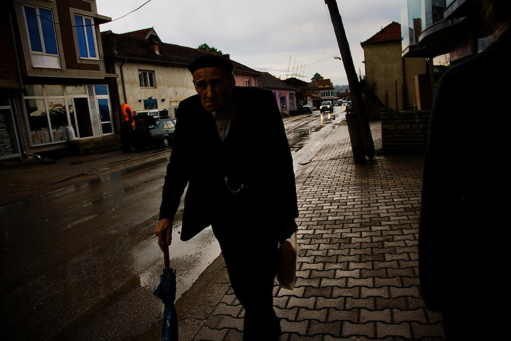 Albanian man in downtown Shtime, Kosovo.