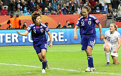 17.07.2011, Commerzbankarena, Frankfurt, GER, FIFA Women Worldcup 2011, Finale,  Japan (JPN) vs. USA (USA), im Bild:  .Torjubel / Jubel  nach dem 1:1 durch Aya Miyama (Japan) (L) mit Karina Maruyama (Japan) .. // during the FIFA Women Worldcup 2011, final, Japan vs USA on 2011/07/11, FIFA Frauen-WM-Stadion Frankfurt, Frankfurt, Germany.   EXPA Pictures © 2011, PhotoCredit: EXPA/ nph/  Mueller       ****** out of GER / CRO  / BEL ******