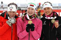 Skiskyting<br /> VM 2013<br /> Nove Mesto Tsjekkia<br /> 17.02.2013<br /> Foto: Gepa/Digitalsport<br /> NORWAY ONLY<br /> <br /> IBU Weltmeisterschaften 2013, 12,5km Massenstart der Damen, Siegerehrung. Bild zeigt den Jubel von Tora Berger (NOR), Darya Domracheva (BLR) und Monika Hojnisz (POL).