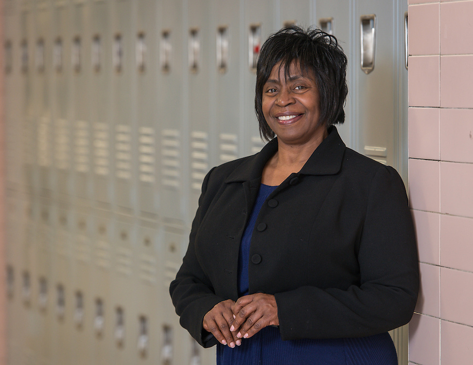 Barbara White poses for a photograph at Waltrip High School, February 19, 2015.
