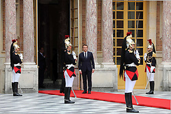 May 29, 2017 - Versailles, FRANCE - French President Emmanuel Macron (L) prepares to greet his Russian counterpart Vladimir Putin upon his arrival at the Chateau de Versailles, west of Paris, on 29 May 2017. It is Putin's first official visit to France since Macron was elected to France's top job. @Maya VIDON-WHITE (Credit Image: © Maya Vidon-White via ZUMA Wire)