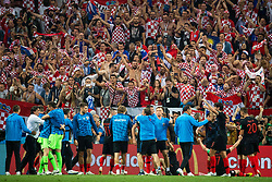 July 11, 2018 - Moscow, Russia - 180711 Players of Croatia celebrate in front of their fans after winning the FIFA World Cup semi final match between Croatia and England on July 11, 2018 in Moscow..Photo: Petter Arvidson / BILDBYRÃ…N / kod PA / 92085 (Credit Image: © Petter Arvidson/Bildbyran via ZUMA Press)