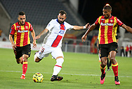 Jese of PSG between Tony Mauricio and Loic Bade of Lens during the French championship Ligue 1 football match between RC Lens (Racing Club de Lens) and Paris Saint-Germain (PSG) on September 10, 2020 at Stade Felix Bollaert in Lens, France - Photo Juan Soliz / ProSportsImages / DPPI