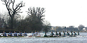 PUTNEY, LONDON, ENGLAND, 18.03.2006, Pre 2006 Boat Race Fixture, Cambridge UBC vs Leander BC. blades clash on Hammersmith bend. Leander's Matt Langridge losses control of his oar as both crew race over part of the Championship Course, from Putney to Mortlake.   © Peter Spurrier/Intersport-images.com..[Mandatory Credit Peter Spurrier/ Intersport Images] Varsity Boat Race, Rowing Course: River Thames, Championship course, Putney to Mortlake 4.25 Miles