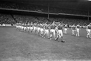22/07/1962<br /> 07/22/1962<br /> 22 July 1962<br /> Leinster Hurling Final: Wexford v Kilkenny at Croke Park, Dublin. <br /> Kilkenny team (left) and Wexford team (right).