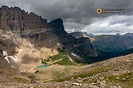 View from Piegan Pass looking into the Many Glacier Valley in Glacier National Park, Montana, USA